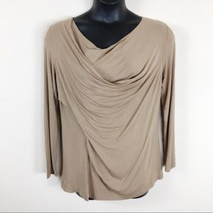 Loveriche Tan Long Sleeve Drape Top Sz Medium